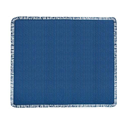 casa pura® Tischdecke Wonderland für Garten und Balkon | Weichschaum mit Fransen | rechteckig 130 cm x 160 cm | pflegeleicht und wetterfest | in 3 Farben (uni marineblau)