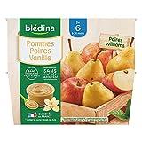Blédina 4 Coupelles Pommes Poires Vanille dès 6 mois