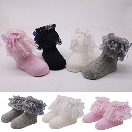 Kolylong Baby Kids Girls Princess Lace Bowknot Socks ✿ Comfortable Soft Cotton Lace Baby Short Socks Ankle Socks