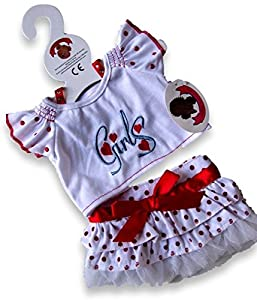Build Your Clothes Osos Armario 15 Pulgadas Oso Build Fit Oso Girls Lunares Outfit Oso de Peluche de la Ropa (Rojo)