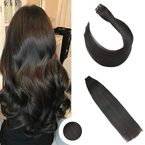 Ugeat Brasilianich Tape in Extensions Haar Schwarz 26 Zoll 50g/20pcs PU Weft Echthaar Tressen Extensions (Extensions Zoll Hair In 26 Tape)