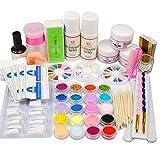 Coscelia Nail Art Acryl Set Nagelset profi Nagelstudioset acrylic Nageldesign Starterset Acrylpulver 120ml Acryl Liquid Fimos Glitzerpuder Dekorationset
