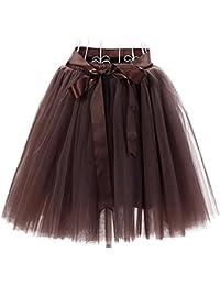 Facent Damen Mädchen 7 Schichten Knielang Tüllrock Tutu Tüll Kleid Rock Reifrock Abendrock