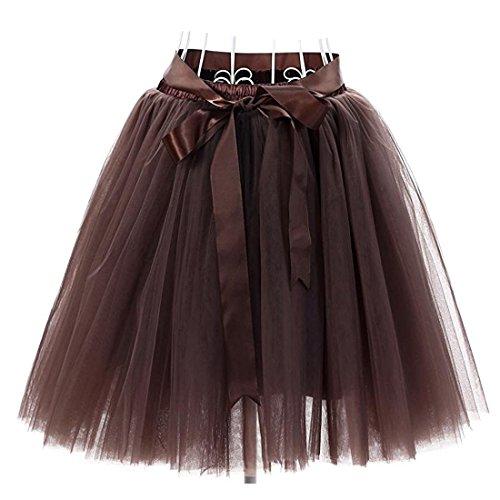 Einfach Kostüm Hirsch - Facent Damen 7 Schichten Knielang Tüllrock Tutu Tüll Kleid Rock Reifrock Abendrock Braun