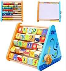 Akrobo Baby Boy's and Baby Girl's Wooden 5 Side Learning Shelf Abacus, Alphabets, Clock