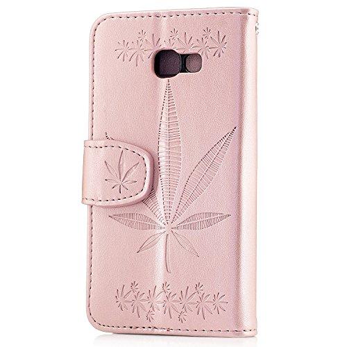 Coque pour Samsung Galaxy S5 Mini, Coffeetreehouse [Conception de motif de gaufrage d'érable] Housse Lanyard Dragonne Portefeuille étui en cuir PU Cuir Portefeuille Etui Housse Coque Coquille avec Sta Or rose
