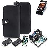 K-S-Trade 2in1 Handyhülle für Allview X4 Soul Mini S Schutzhülle & Portemonnee Schutzhülle Tasche Handytasche Case Etui Geldbörse Wallet Bookstyle Hülle schwarz (1x)