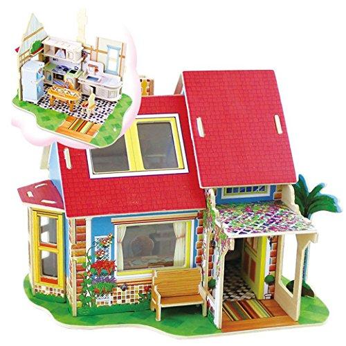 Happy Cherry Kinder Holz Spielzeug 3D Puzzle Modell DIY Holzpuzzle Kinderspielzeug ab 3 Jahren Dreaming Hause Geschenk für Kind Holzspielzeug DV180 - Küche (Cherry Küche)