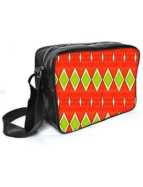 Snoogg grün Diamant orange Muster Leder Unisex Messenger Bag für College Schule täglichen Gebrauch Tasche Material PU