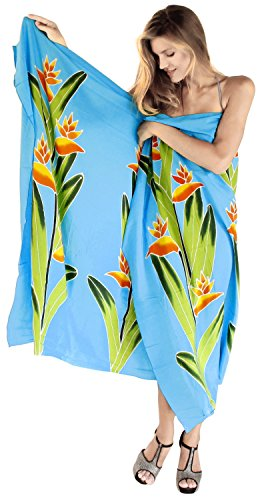 La Leela liscia rayon gonna spiaggia coprire ibisco Caraibi sarong 62x43 pollici Turchese 1