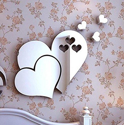 erthome DIY 3D Spiegel Liebe Herzen Wandaufkleber Abnehmbare Aufkleber Kunst Wand Home Room Decor (20 x 20 x 10 CM, Silber) Fan-wand-kunst