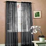 kasit Tulle voile écharpe en porte fenêtre rideau drapieren Panneau Sheer volants pour chambre salle de bain salon chambre, noir