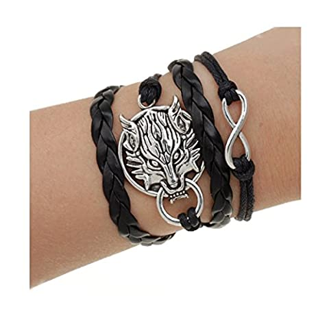 LUXURY - Seil-Armband für Frauen. In der Länge verstellbar. Modell FINAL FANTASY VII. Schwarz. Geschenkidee für alle (Weihnachten Seil Spielzeug)