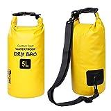 ZhaoCo Sac étanche, 5L/10L/20L/30L Sac Sec PVC Dry Bag Sack avec Sangle Réglable pour Kayak Bateau Canoeing Pêche Camping Piscine Rafting Snowboard Plein Air Sports Aquatiques (Jaune, 5L)