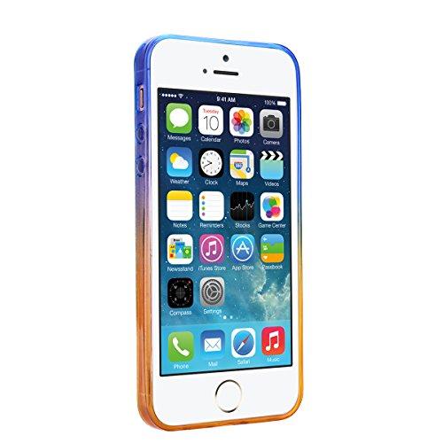 iPhone SE Hülle, 5S Hülle, GrandEver Durchsichtig Silikon Weich Schutzhülle Douce Mince TPU Case Soft Slim et Cystal Clear Transparent Backcover Gradient Tasche für iPhone 5 - Gelb et Blau Gelb et Blau