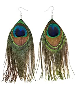 Ammvi Creations Peacock Feather Trendy Pair of Earrings for Women