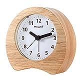 PINGHE Horloge Analogique en Bois avec Fonction Snooze - Réveil de Table Rétro avec...