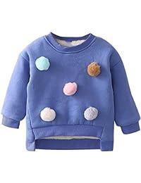 K-youth Para 2-7 años Niñas Ropa De Invierno más Terciopelo Grueso Suéter Caliente Sudadera para niña Blusas Bebe Niña Camiseta de Manga Larga para Niñas Jersey Tops