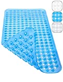 Homerella Badewannenmatte 88x39cm schimmelresistent INKL. AUFHÄNGUNG | Antirutschmatte Badewanne maschinenwaschbar | Badewanneneinlage BPA & latexfrei | Badematte Duschmatte rutschfest (blau)