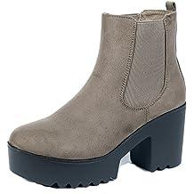 AgeeMi Shoes Mujer Cordón Elástico Suede Tacón Alto Caña Baja Botas