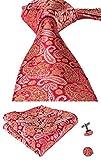 hi-tie Paisley corbata pañuelo gemelos Jacquard tejido de seda corbata Rojo Naranja Rojo