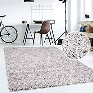 Hochflor Teppich | Shaggy Teppich fürs Wohnzimmer Modern & Flauschig | Läufer für Schlafzimmer, Esszimmer, Flur und Kinderzimmer | Langflor Carpet grau 040x060 cm