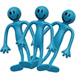 3 x Blue Smiley Bendy Men - Sensory Toys - Relief from Stress, ADHD & Autism