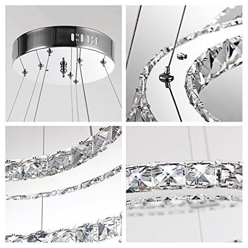 48W LED Lampada a sospensione Dimmerabile Lampada a soffitto cristallo Lampadario creativo Due anelli (48W Dimmerabile)