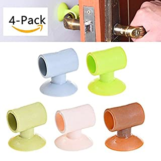 Pentaton Türgriff Puffer Fenstergriff Puffern Tür Stopper zum Schutz von Wänden und Möbeln aus Gummi in verschiedenen Farben 4er Pack (Braun)