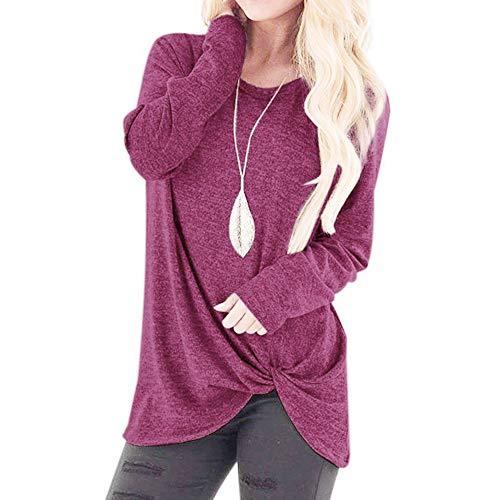 iHENGH Black Friday Weihnachten Damen Herbst Winter Bequem Lässig Mode Frauenmode Lose Langarm Oansatz Lässige Solid T Shirt Bluse ()