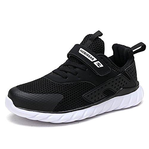 XIAO LONG Turnschuhe Kinder Sneaker Jungen Sportschuhe Mädchen Hallenschuhe Outdoor Laufschuhe Für Unisex-Kinder- Gr. 34 EU=InnereLänge 22.1CM, Schwarz