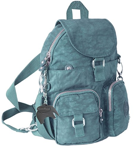 Big Handbag Shop Multi Tasche con cerniera antipioggia unisex unico backpack1 Teal