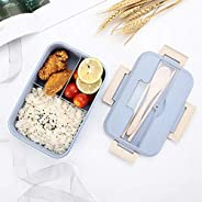 Bento Box for Kids,Lunch Box Lunch Container for Adults,Leakproof Lunch Containers with 3 Compartments,Made by Wheat Fiber Mi