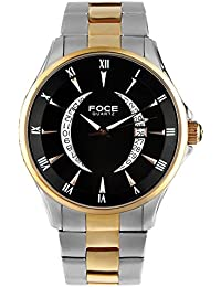 FOCE Silver & Gold Round Analog Wrist Watch for Men with Silver::Gold Metal Strap - F813GSRM-BLACK