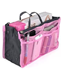 Outdoortips Handbag Pouch Bag in Bag Organiser Insert Organizer Tidy Travel Cosmetic Pocket Six colors (Pink)