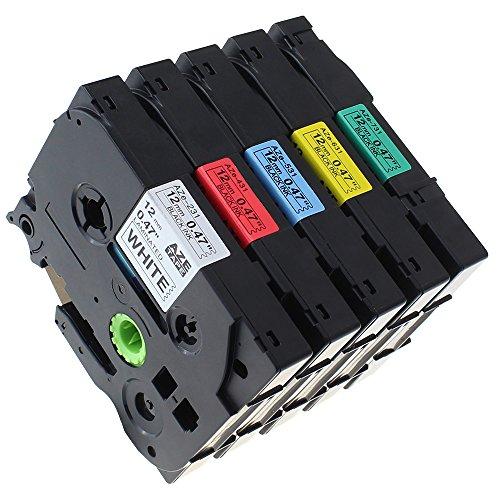 Preisvergleich Produktbild coLorty 5 x Schriftbandkassette Kompatibel für Brother TZe-231 TZe-431 TZe-531 TZe-631 TZe-731 P-Touch Laminiertes Band Schwarz auf Weiß / Rot / Blau / Gelb / Grün 1 / 2 Inch x 26.2 Feet