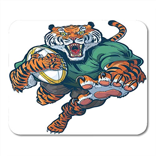 Deglogse Gaming-Mauspad-Matte, Cartoon Clip of Tough Mean Tiger Rugby Mascot Leaping Mouse Pad, Desktop Computers mats - Mascot-clip
