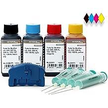 Juego completo con 4 x 100 ml Reseteador de cartuchos de tinta, tinta para Brother LC-223, LC-225, LC-227, LC-229 cartuchos de tinta, Brother DCP-J 4120, MFC-J 4420, J 4425, J 4620, J 4625, J 5320, J 5600, J 5620, J 5625, J 5720 impresora, vacíos