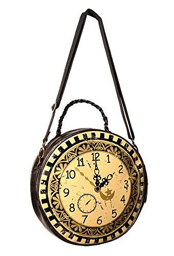 Interdits à vêtements : Steampunk Sac à main ROND horloge cercle croix barrant Rock Sac bandoulière Marron