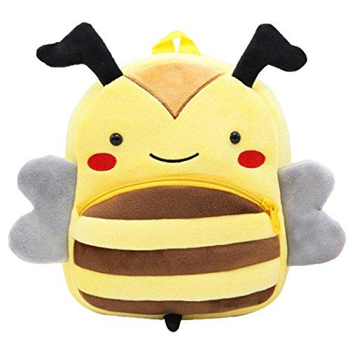 GWELL Süß Tier Babyrucksack Plüsch Kindergartenrucksack Backpack Schultasche Mädchen Jungen Reisetasche Biene