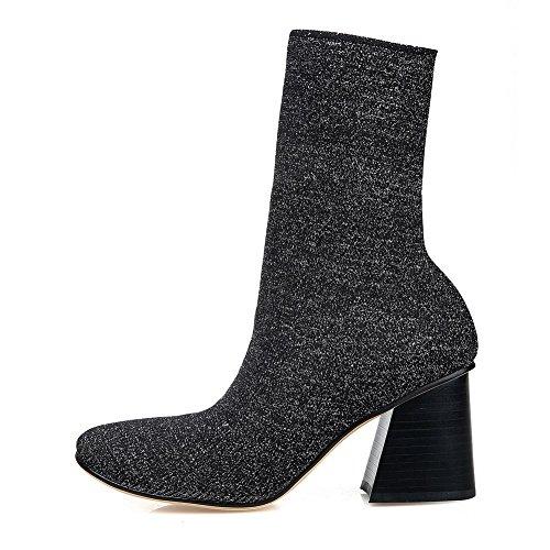 AllhqFashion Damen Ziehen Auf Weiches Material Hoher Absatz Quadratisch Zehe Stiefel Silber