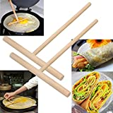 Generic Brown : 2pcs Pancake Batter Wooden Spreader Stick Crepe Maker Practical Home Kitchen Tool Kit DIY 2016 New
