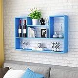 Health UK Shelf- An der Wand befestigte sich hin- und herbewegende Regale, Wein-Gestell-Restaurant-Wand-Kabinette Wohnzimmer-Schlafzimmer-Buch-Regale welcome (Farbe : Blue-100cm)