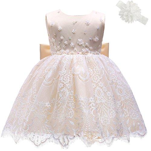 AHAHA Champagne Gold Baby Girl Princess Wedding Dresses Baptism Christening Baby Birthday Party Dress