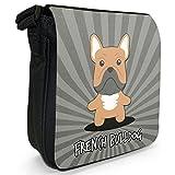 Französische Bulldogge Kleine Schultertasche aus schwarzem Canvas