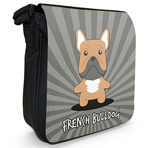 Englische Cartoon-Hunde Kleine Schultertasche aus schwarzem Canvas Französische Bulldogge