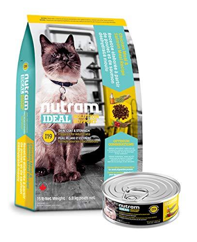 Nutram I19 6,8 Kilo Ideal Solution Support®Sensitive Skin Fell Haut Magen Katzenfutter trocken + 156gr. Nassfutter