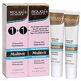 Rougj - Crema Viso 24h Idratante Multivit per Pelle Normale e Mista - 2 x 40 ml | Confezione doppia con 2 tubetti da 40 ml!