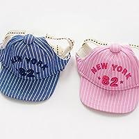 Fashion Casquette de Baseball Chapeau 100% Coton Cap Réglable et Rayée NewYork Accessoires Plein Air Pour Chien - Rose, M