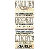 Preis am Stiel Bild ''Familienregeln'' | Wohnaccessoirces | Holzbild